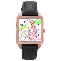 Motorcycle Racing The Slip Motorcycle Rose Gold Leather Watch