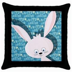 Easter Bunny  Throw Pillow Case (black) by Valentinaart