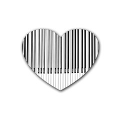 Abstract Piano Keys Background Rubber Coaster (heart)  by Nexatart