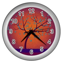 Beautiful Tree Background Wall Clocks (silver)  by Nexatart