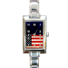Grunge American Flag Background Rectangle Italian Charm Watch by Nexatart