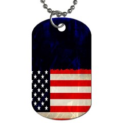 Grunge American Flag Background Dog Tag (one Side) by Nexatart