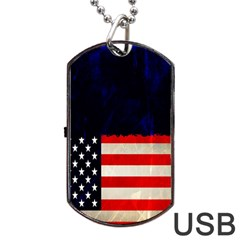 Grunge American Flag Background Dog Tag Usb Flash (two Sides) by Nexatart