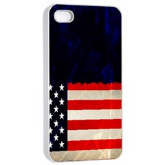 Grunge American Flag Background Apple Iphone 4/4s Seamless Case (white) by Nexatart