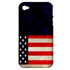 Grunge American Flag Background Apple Iphone 4/4s Hardshell Case (pc+silicone) by Nexatart