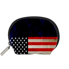 Grunge American Flag Background Accessory Pouches (small)