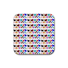 A Creative Colorful Background With Hearts Rubber Square Coaster (4 Pack)  by Nexatart