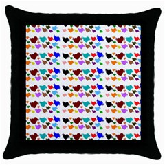 A Creative Colorful Background With Hearts Throw Pillow Case (black) by Nexatart