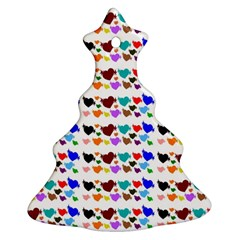 A Creative Colorful Background With Hearts Christmas Tree Ornament (two Sides)