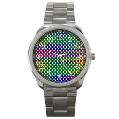 Digital Polka Dots Patterned Background Sport Metal Watch by Nexatart