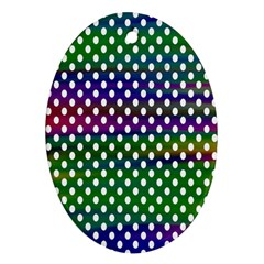 Digital Polka Dots Patterned Background Oval Ornament (two Sides) by Nexatart