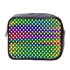 Digital Polka Dots Patterned Background Mini Toiletries Bag 2 Side by Nexatart
