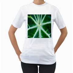 Green Leaf Macro Detail Women s T Shirt (white) (two Sided) by Nexatart