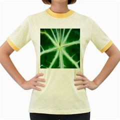 Green Leaf Macro Detail Women s Fitted Ringer T Shirts