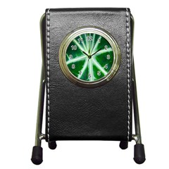 Green Leaf Macro Detail Pen Holder Desk Clocks by Nexatart
