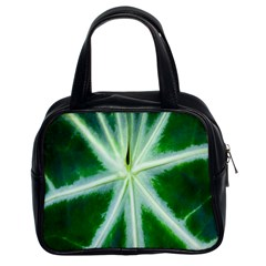 Green Leaf Macro Detail Classic Handbags (2 Sides) by Nexatart