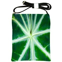 Green Leaf Macro Detail Shoulder Sling Bags by Nexatart