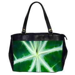Green Leaf Macro Detail Office Handbags (2 Sides)  by Nexatart