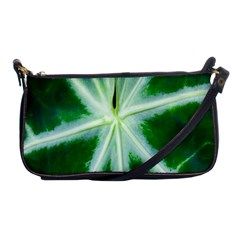 Green Leaf Macro Detail Shoulder Clutch Bags by Nexatart