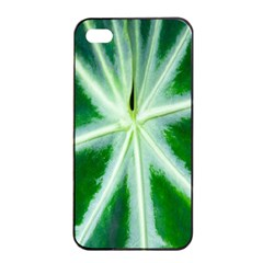 Green Leaf Macro Detail Apple Iphone 4/4s Seamless Case (black) by Nexatart
