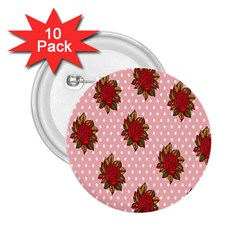 Pink Polka Dot Background With Red Roses 2 25  Buttons (10 Pack)