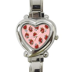 Pink Polka Dot Background With Red Roses Heart Italian Charm Watch by Nexatart