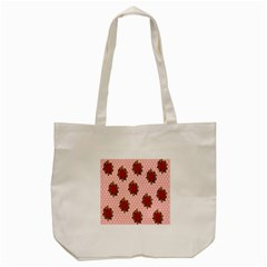 Pink Polka Dot Background With Red Roses Tote Bag (cream) by Nexatart