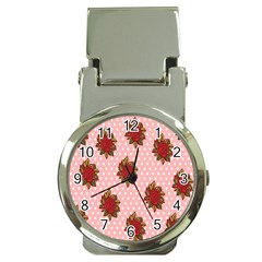 Pink Polka Dot Background With Red Roses Money Clip Watches