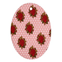 Pink Polka Dot Background With Red Roses Oval Ornament (two Sides)
