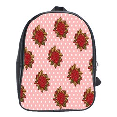 Pink Polka Dot Background With Red Roses School Bags(large)  by Nexatart