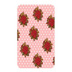 Pink Polka Dot Background With Red Roses Memory Card Reader by Nexatart