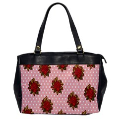 Pink Polka Dot Background With Red Roses Office Handbags by Nexatart