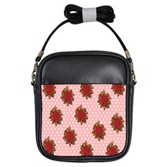 Pink Polka Dot Background With Red Roses Girls Sling Bags by Nexatart