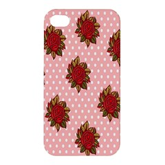 Pink Polka Dot Background With Red Roses Apple Iphone 4/4s Hardshell Case by Nexatart