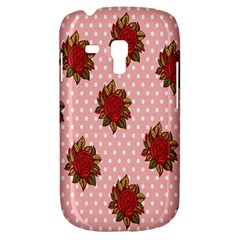 Pink Polka Dot Background With Red Roses Galaxy S3 Mini by Nexatart