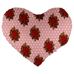 Pink Polka Dot Background With Red Roses Large 19  Premium Flano Heart Shape Cushions by Nexatart