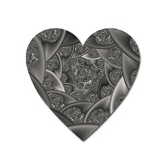 Fractal Black Ribbon Spirals Heart Magnet by Nexatart
