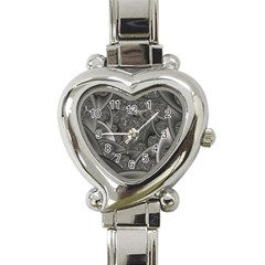 Fractal Black Ribbon Spirals Heart Italian Charm Watch by Nexatart