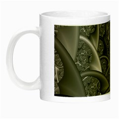Fractal Black Ribbon Spirals Night Luminous Mugs