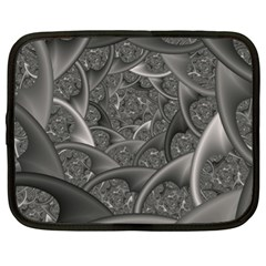 Fractal Black Ribbon Spirals Netbook Case (xl)  by Nexatart