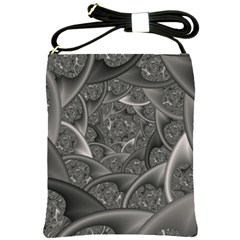 Fractal Black Ribbon Spirals Shoulder Sling Bags by Nexatart