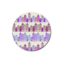 Houses City Pattern Rubber Coaster (round)  by Nexatart
