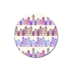 Houses City Pattern Magnet 3  (round) by Nexatart