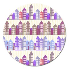 Houses City Pattern Magnet 5  (round)