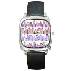 Houses City Pattern Square Metal Watch