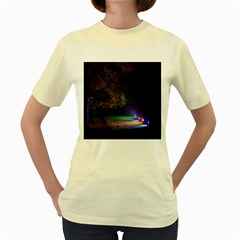 Illuminated Trees At Night Women s Yellow T Shirt