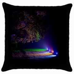 Illuminated Trees At Night Throw Pillow Case (black) by Nexatart