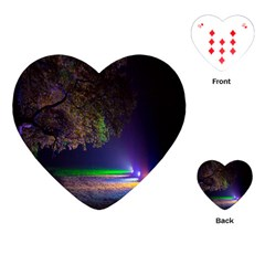 Illuminated Trees At Night Playing Cards (heart)  by Nexatart