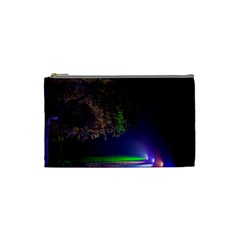 Illuminated Trees At Night Cosmetic Bag (small)  by Nexatart