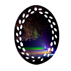 Illuminated Trees At Night Oval Filigree Ornament (two Sides) by Nexatart